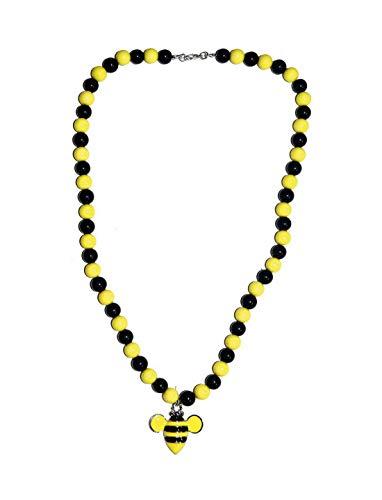 Bumblebee Kostüm Pet - Luxuspiraten - Kostüm Accessoires Zubehör Halskette Perlenkette in Hummel Bienen Stil, Bumblebee Necklace, perfekt für Karneval, Fasching und Fastnacht, Gelb