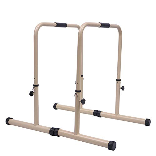 PQXOER Dip-Station Funktionelle Duty Dip Stands Dip Station Bars Fitness-Training Fitness Workout Dip Bar Dip Barren (Color : White, Size : 71x50x81-102cm)