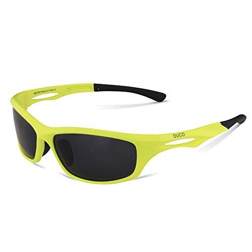 DUCO Polarisierte Sport-Sonnenbrille zum Laufen Radfahren Angeln Golf TR90 Unbreakable Rahmen 6199 (Fluoreszierendes Grün)