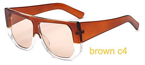 LKVNHP Sterne Leuchten Kunststoffrahmen Festival Celebrity Shield Übergroße Sonnenbrille Damenmode Frauen Brille Uv ProtectorWTYJ038 braun c4
