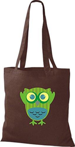 ShirtInStyle Jute Stoffbeutel Bunte Eule niedliche Tragetasche Owl Retro diverse Farbe, braun