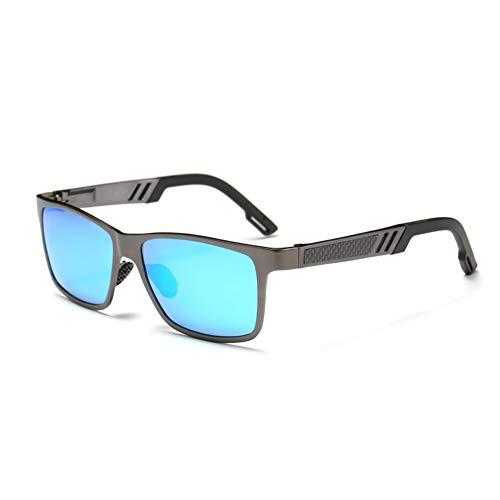 HYwot AORON Herren-Sonnenbrille, polarisierte Brille, Sportbrille, Aluminium-Magnesium, bunt polarisiert, UV-beständig, geeignet für Autofahren, Outdoor, Reisen,gunframeiceblue