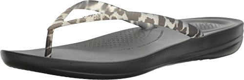FitFlopE54-010 - Iqushionergff Damen, Schwarz (Schwarz Leopard), 42 B(M) EU Leopard Flip Flop Thongs Sandals