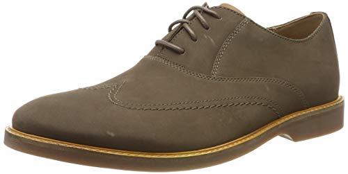 Clarks Herren Atticus Vibe Derbys, Grau Taupe Nubuck, 44 EU Taupe Nubuck Schuhe