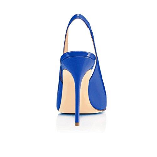 EDEFS Damen Stiletto Heels Übergröße Damenschuhe Spitze Zehen Lackleder Slingback Pumps mit Gummiband Blau