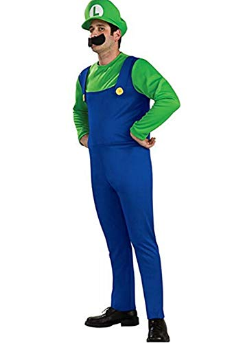 splay Costume Super Mario Brothers Mario Luigi Costume Fancy Dress Up Party Costume Cute Costume Adult Teens Green Small ()