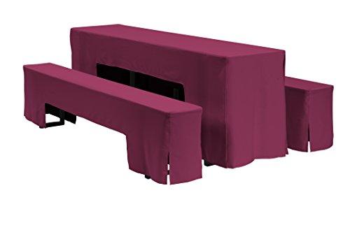 Dena 635019 Hussen-Set Arcade für Festzeltgarnitur, 100% Polyester, 220 x 50 cm, Bordeaux