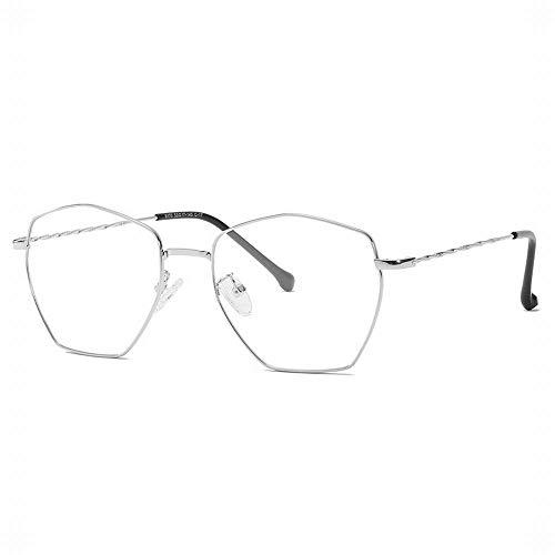 WULE-RYP Polarisierte Sonnenbrille mit UV-Schutz Polygonal Metall Brillengestell Unisex Stilvolle klare Brillenbrille. Superleichtes Rahmen-Fischen, das Golf fährt (Farbe : Silver)