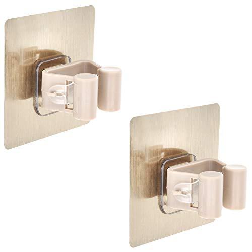 com-four® 2X magischer Werkzeughalter für Besen und Wischmop - Gerätehalter für die Wand - für bis zu 2 kg Belast (02 Stück - 1 Klemme)