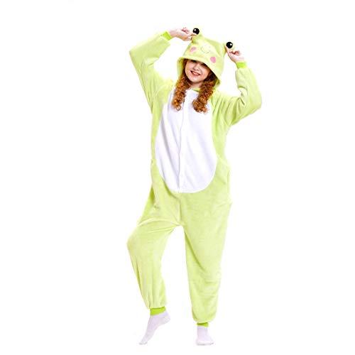 HOOLAZA Unisex Flanell Hoodie Tier Pyjama Frosch Cartoon Pyjamas Onesies Overall Nachtwäsche Erwachsene Nachtwäsche Kigurumi Cosplay (Frosch Hoodie Kostüm)