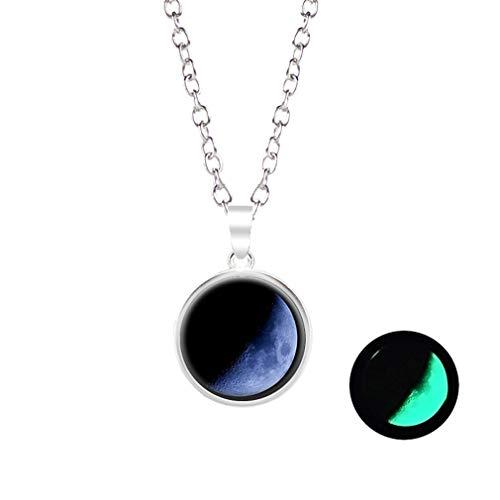 KUHRLRX Charm Runde Anhänger Halskette Einfache Luminous Eclipse Convex Glaskugel Halskette Partei Schmuck Geschenk für Frauen, Legierung + Glas, A10