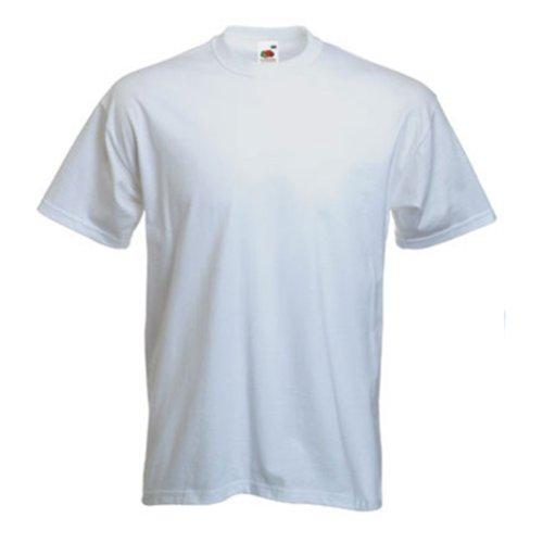 Plain Fruit of the Loom T-Shirt, Größe S-3XL, in verschiedenen Farben erhältlich. Weiß - Weiß