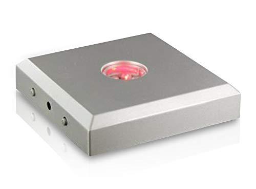 VIP-LASER Leuchtsockel 5 LEDs Farbwechsler incl. Color-Stop Funktion Silber