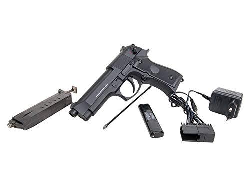 GSG Airsoft/Softair Set M92 Vollmetall elektrisch Cal. 6mm + 2 Magazine, Akku, Speedloader, Target