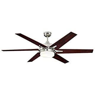 Cayuga 152 cm Brushed Nickel Indoor Ceiling Fan, Light Kit with Opal Frosted Glass