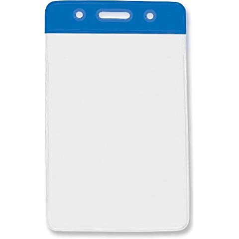 Blue Credit Card Size Vertical Color-Bar Badge Holders by Brady