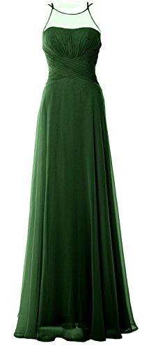 MACloth Elegant Halter Long Bridesmaid Dress Chiffom Simple Prom Formal Gown Dark Green