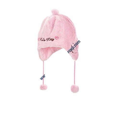 Mütze peruanischen Pelz Baby Mädchen Hello Kitty rosa und Ecru von 9bis 36Monaten (Mütze Baby Hello Kitty)