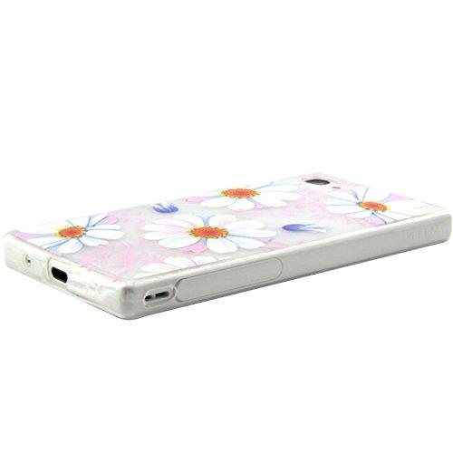 Coque pour Sony Xperia Z3 Compact, Etui pour Sony Xperia Z3 Compact, ISAKEN Transparente Ultra Mince Souple TPU Silicone Etui Housse de Protection Coque Étui Case Cover pour Sony Xperia Z3 Compact (To Fleur Blanc