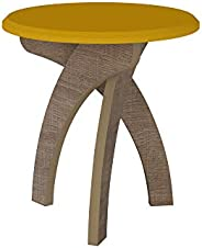 Artely Jade End Table, Yellow with Cinnamon Brown W 50 cm x D 50 cm x H 51.5 cm