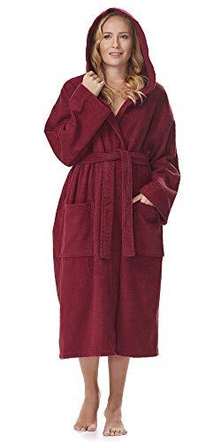 Arus Bademantel-Astra, für Damen und Herren mit Kapuze, extra lang, 100% Flauschige Baumwolle Frottee, auch als Hausmantel Morgenmantel Saunamantel Größe: XXL, Farbe: Bordeaux (Damen Bademäntel Knie-länge)