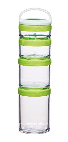 KitchenCraft Healthy EatingBPA-freie Stapelbare Lunchbox Snack-Töpfe, Plastik, Mehrfarbig, 5.5 x 22 cm, 4-Einheiten