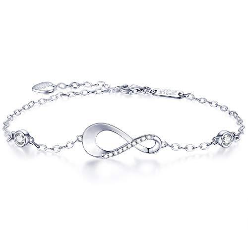 Billie Bijoux Infinity Unendlichkeit Symbol Damen Armband 925 Sterling Silber Zirkonia Armkette Verstellbar Charm Armband für den Muttertag (3- silver) - Lächeln Armband