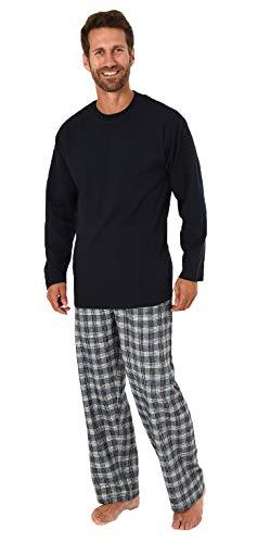 Herren Schlafanzug Pyjama lang mit Flanell Hose - auch in Übergrößen - 281 101 90 997, Farbe:Marine, Größe2:52 -