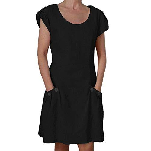 ider für Damen, Leinenkleider Rundhals Kurzarm Lose Einfarbig Casual Partykleid Minikleid Blusenkleid mit Tasche Große Größen ()