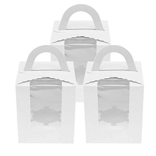 20stk Weiß Cupcake Kuchenboxen Muffin Kuchen Boxen Tortenbox mit PVC Fenster (Fenster-kuchen-boxen)