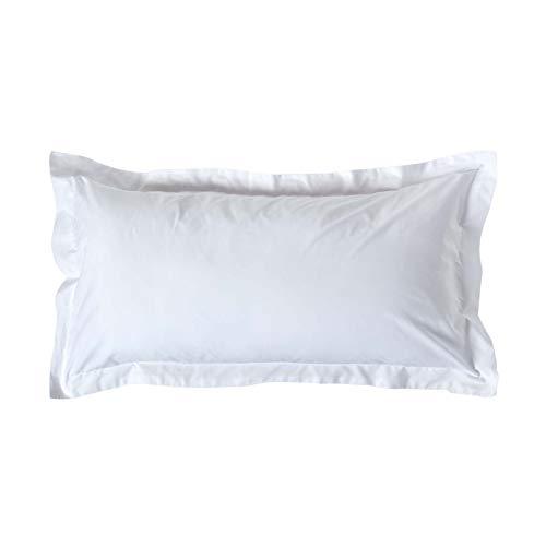 Homescapes unifarbener Kopfkissenbezug weiß extra groß 50 x 90 cm mit Stehsaum - 100% Reine ägyptische Baumwolle, Fadendichte 200 - Kissenhülle mit Hotelverschluss -