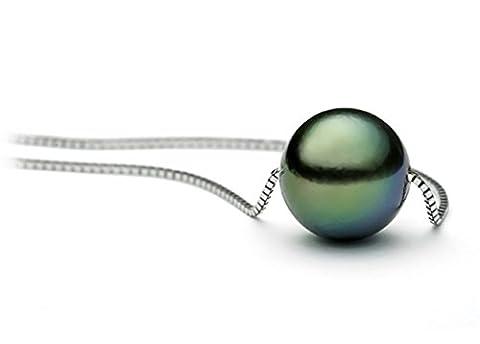 40,6cm 14K Or Blanc Collier solitaire de perle de culture de Tahiti Noir de qualité AAA