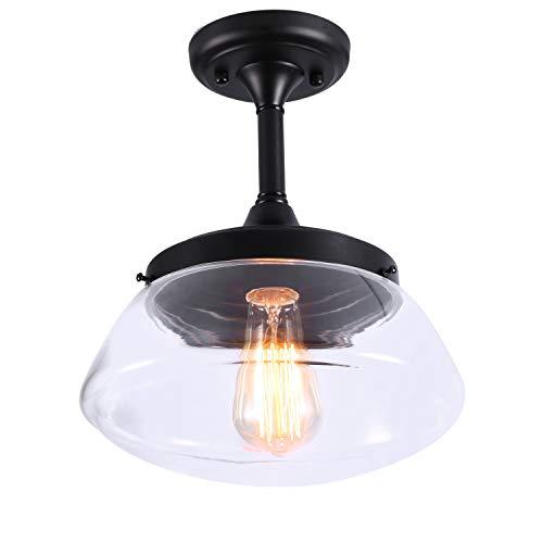 Lightsjoy Vintage Pendelleuchte Glas Industrial Deckenlampe Modern Hängeleuchte Pendellampe 1-flammig Glaslampe Kronleuchter mit E27 Fassung Leuchtmittel für Esstisch Restaurent Loft Wohnzimmer usw.