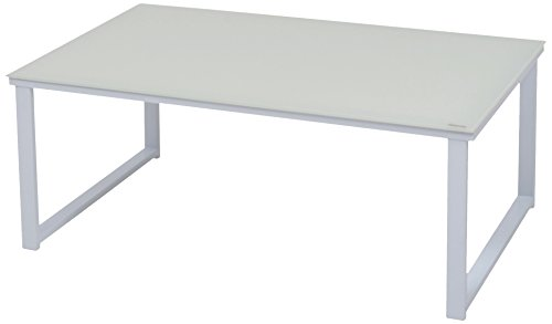 MORE DESIGN MOUSE-TB-H35-BC Table Basse Métal Laqué Epoxy/Verre Trempé Blanc 80 x 50 x 32 cm