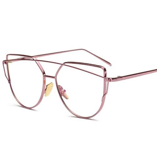 AGGIEYOU Cat Eye Glasses Occhiali da Vista da Donna Occhiali da Vista Occhiali da Vista Occhiali da Sole con Montatura in Metallo Occhiali da Vista Donna Vintage Trasparenti, Rosa