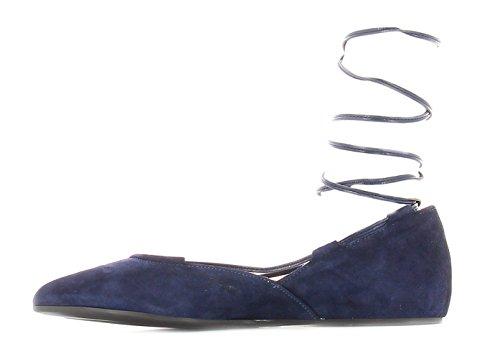 CAFè NOIR ED506 blu scarpa donna ballerina schiava laccio pelle punta 38