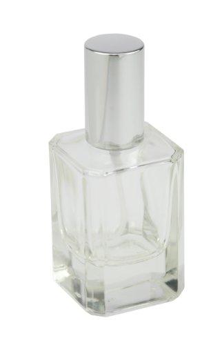 Flacon de parfum carré avec pompe, vaporisateur et bouchon Argenté 50 ml