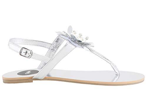 Buffalo Emberly Damen Zehentrenner,Sandaletten,Sommerschuhe,Strandschuhe,flach,luftig,Silver,40 EU