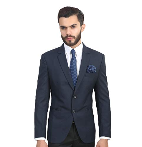 MANQ Men's Blue Slim Fit Formal/Party Blazer
