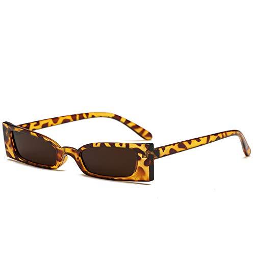 Taiyangcheng Rectángulo pequeño Gafas de sol Mujer Ojo de gato Gafas de sol Sombras Negro Cuadrado Rojo,Leopardo marrón