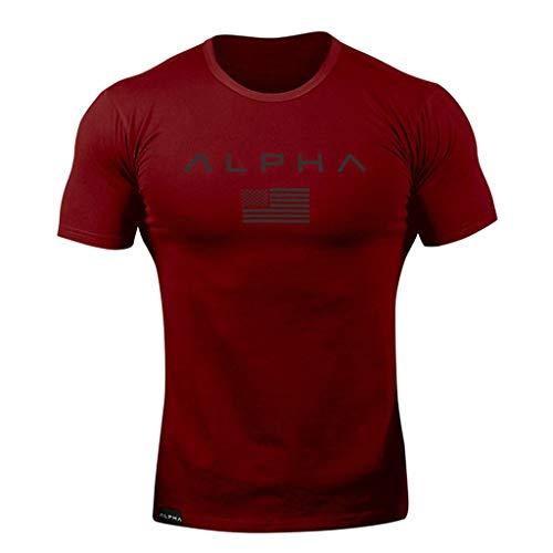 Maglietta da Uomo Estate Manica Corta T Shirt Stampata Camicia Manica Corta da Uomo Maniche Nuova Tendenza Moda Giubbotto Fitness PANPANY