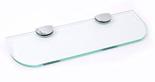 Étagère en verre avec bords arrondis - 3tailles : 300mm, 400mm, 500mm - 3coloris : transparent, Blanc, Noir - Pour salle de bain, Cuisine, Chambre à coucher