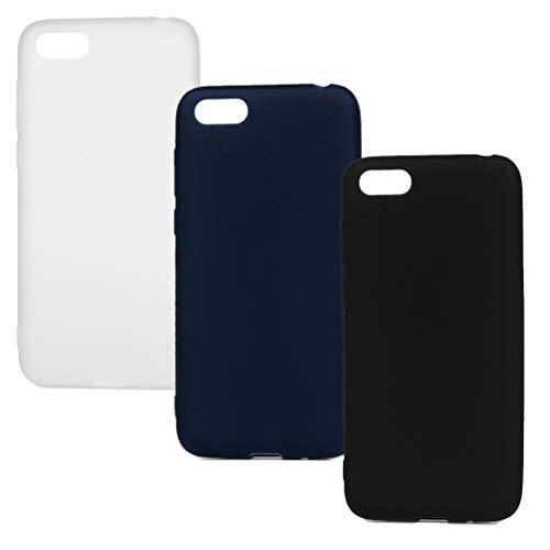 Hülle für Huawei Y5 2018, 3X Candy Farbe Handyhülle Case, Silikon Schale Schutzhülle Handytasche Crystal Clear Durchsichtig Cover in Königsblau + Schwarz + Weiß -