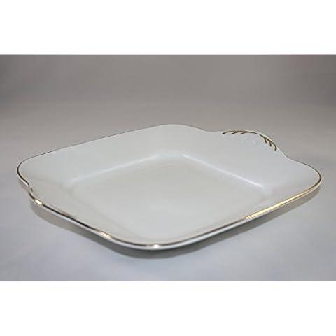 English Fine Bone China, colore: bianco e oro, quadrato da portata, per torte/Sandwich Piatto decorato a mano nello Staffordshire
