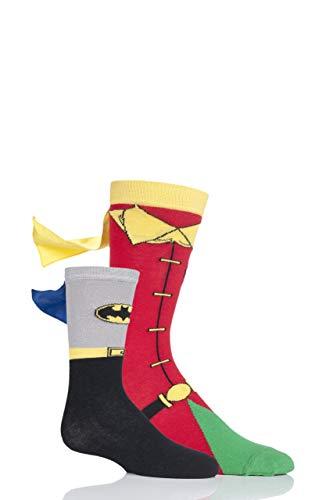 SockShop Erwachsener und Kind Batman und Robin Geschenkbox Kap Socken Packung mit 2 Assortiert 39-45 und 2-9 Jahre (Paar Batman Robin Kostüme Und)