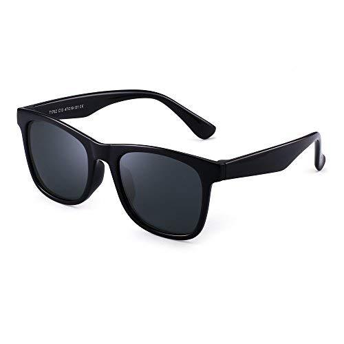 JM Polarisiert Kinder Sonnenbrille Gummi Jungs Mädchen Kids Flexibel Brille Alter 3-12 (Glänzend Schwarz/Polarisiertes Grau)