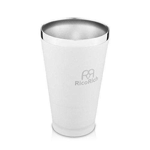 RicoRich 16oz/450ml Bierbecher Doppelwand Vakuum Isolierte Trommel Edelstahl Becher Tassen (Weiß)