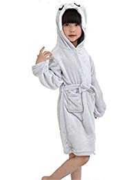 Kinder Weichen Bademantel Comfy Unicorn Flanell Robe Unisex mit Kapuze Geschenk All Seasons Sleepwear