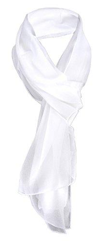 TigerTie Damen Chiffon Halstuch weiß schneeweiß Uni Gr. 160 cm x 36 cm - Schal