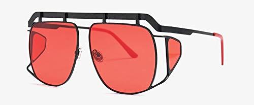 CQYYDD Big Square Übergroße Sonnenbrille Uv400 mit Seitenschutz Metallrahmen Damen Vintage Sonnenbrille Herren Gold wie abgebildet in Fotoschwarz mit Rot